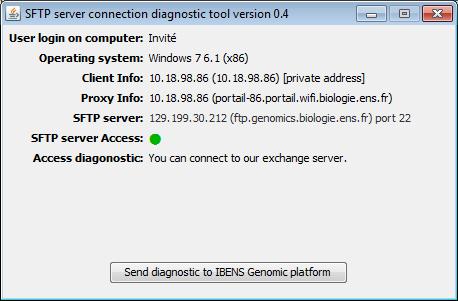 SFTP Server connection diagnostic